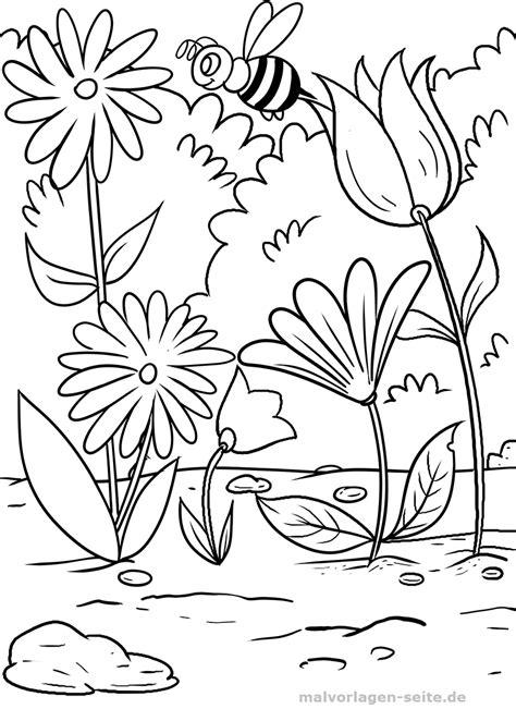 Ausmalbilder Blumen Und Bienen