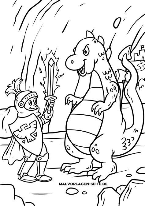Ausmalbilder Drachen Ritter Kostenlos