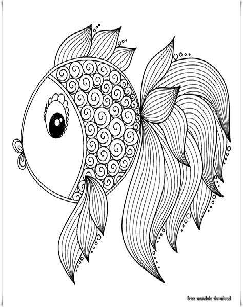 Ausmalbilder Fische Mandala