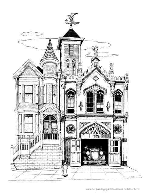 Ausmalbilder Halloween Haus