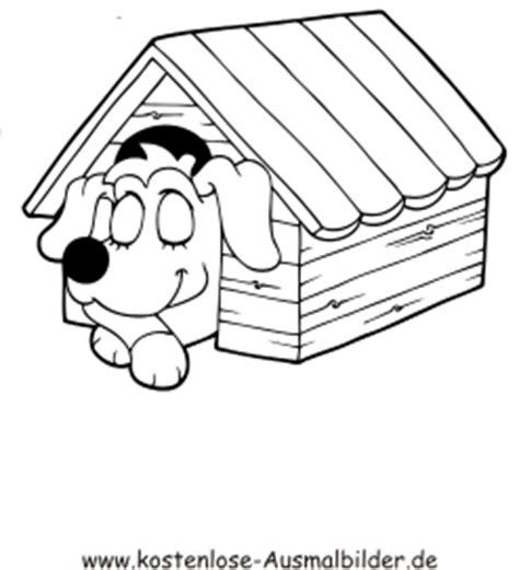 Ausmalbilder Hunde Mit Hundehütte