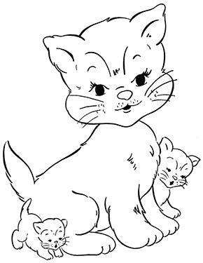 Ausmalbilder Katze Mit Babys