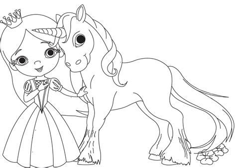 Ausmalbilder Kostenlos Einhorn Und Prinzessin