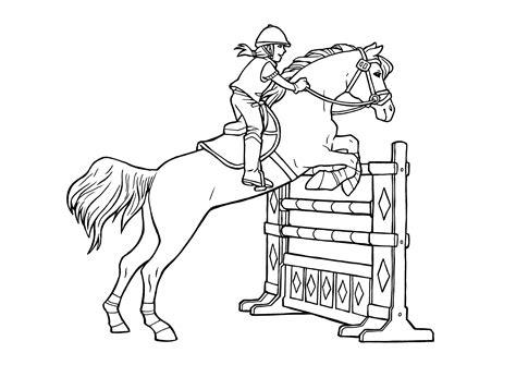 Ausmalbilder Pferde Reiter