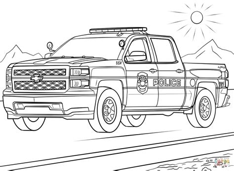 Ausmalbilder Polizei Truck