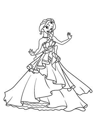 Ausmalbilder Tanzende Prinzessin