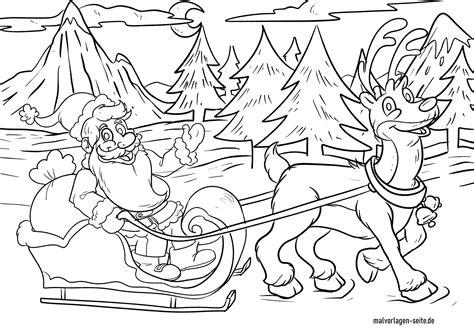 Ausmalbilder Weihnachtsmann Mit Rentier