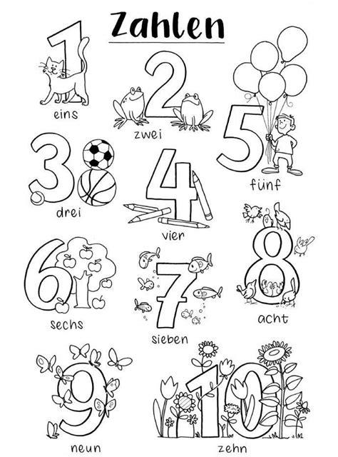 Ausmalbilder Zahlen Kindergarten