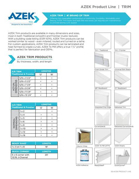 Azek trim sizes Image