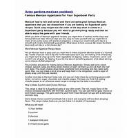 Aztec gardens mexican cookbook offer