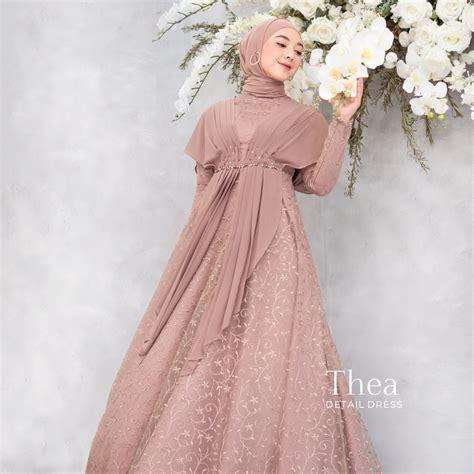 Harga Baju Kondangan Muslimah Premium Gamis Pesta Sabrina Detil
