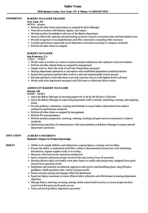 Bakery Manager Resume | Cover Letter Sample Non Profit