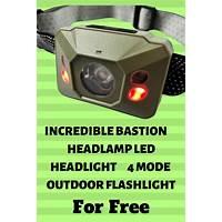Bastion headlamp led headlight 4 mode outdoor flashlight tips