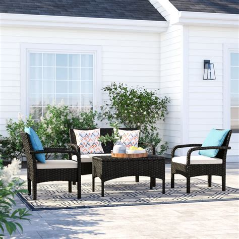 Bayside 4 Piece Rattan Sofa Seating Group with Cushions