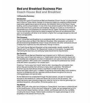 Bed Breakfast Sample Business Plan