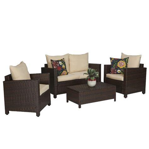 Belva 4 Piece Rattan Sofa Set with Cushions
