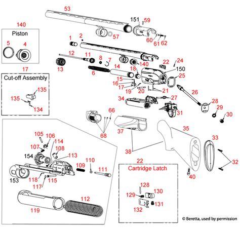 Beretta A400 28ga Schematic - Brownells UK