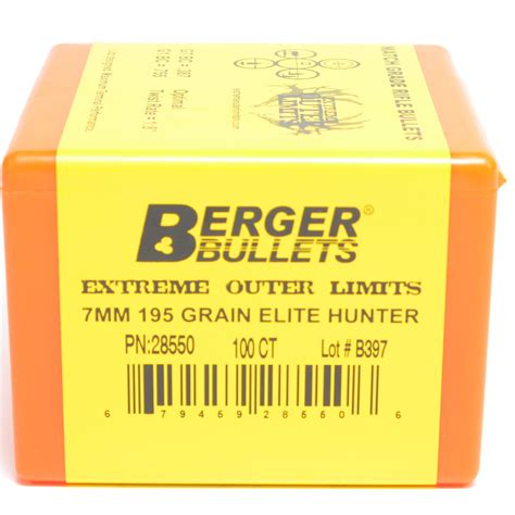 Berger 28550 7mm 195gr Extreme Outer Limits Elite Hunter