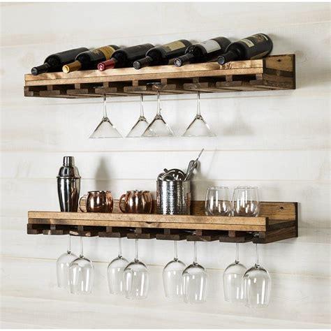 Bernardo Rustic Luxe Tiered Wall Mounted Wine Glass Rack (Set of 2)