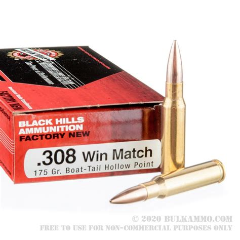 Black Hills 308 Winchester Match 175gr HP Ammo For Sale