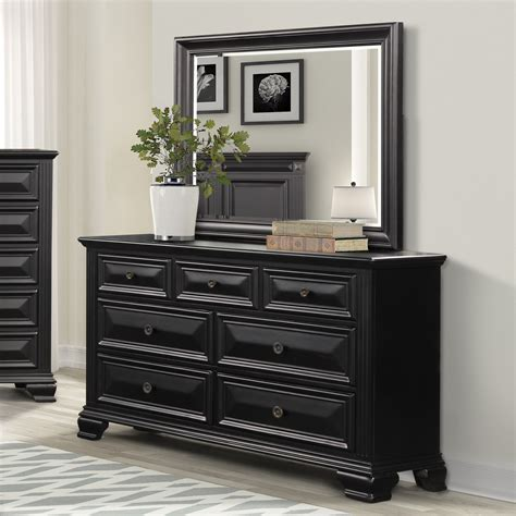 Black Dresser With Mirror Image