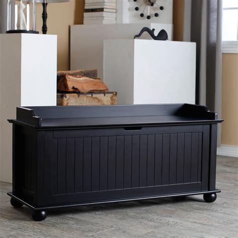 Black Storage Bench Wood Image