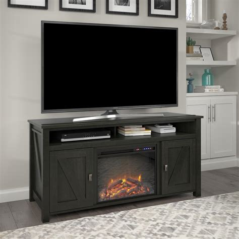 Black TV Stand With Electric Fireplace Image