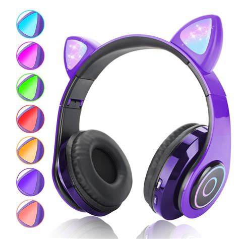 bluetooth Ear Headphones Lightweight and Foldable Bass Headphones with Volume Control and Microphone