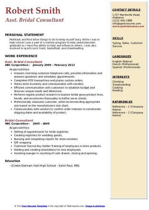 Bridal Consultant Job Resume Sample Best Format