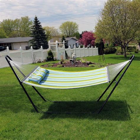 Brielle Quilted Double Fabric 2-Person Tree Hammock with Stand