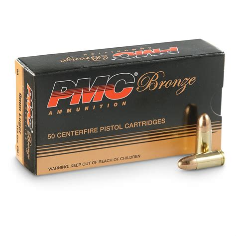 Bronze Ammo 9mm Luger 115gr Fmj Ammo Can Pmc Ammunition Inc