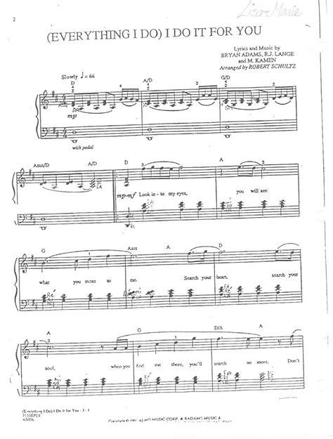 Bryan Adams Everything I Do Piano Sheet Pdf