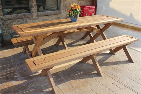 Build a picnic table with detached benches Image