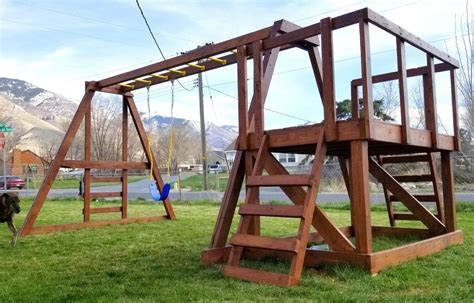 Building a wooden swing set Image