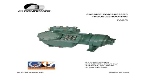 CARRIER COMPRESSOR TROUBLESHOOTING
