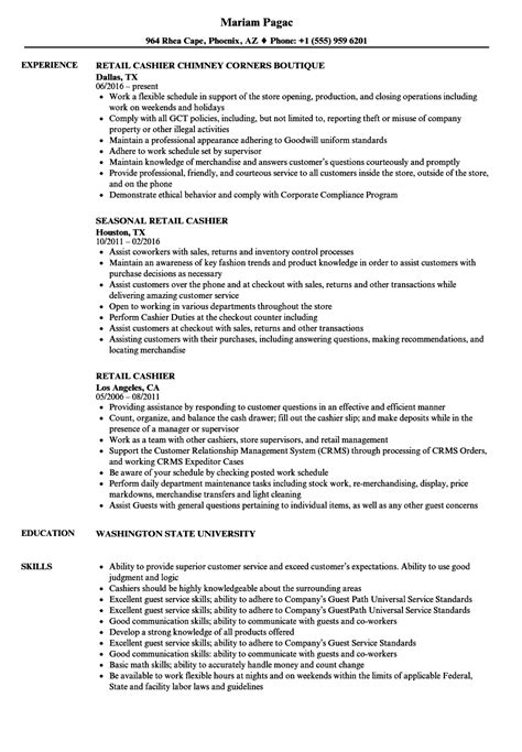 Resume Sample Sales Examples Cashier Retail Cashier Resume Sample