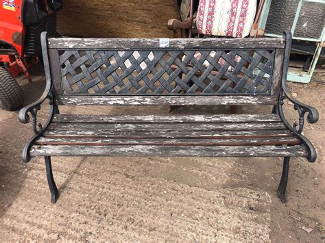 Cast iron wooden bench Image