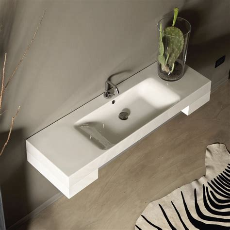 "Ceramic 12"" Wall Mount Bathroom Sink with Overflow"