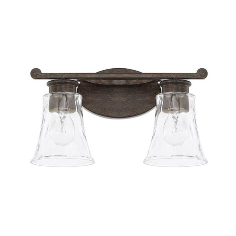 Channel 2-Light Vanity Light with Clear Watered Glass