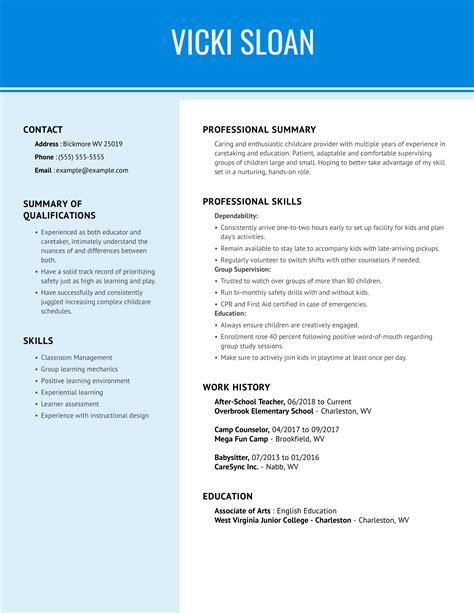 Childcare Provider Resume Rception Des Chantillons De Cv Visualcv Cv