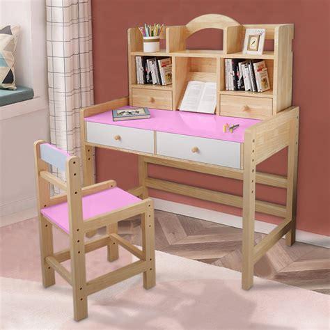 Childrens wooden desk with storage Image