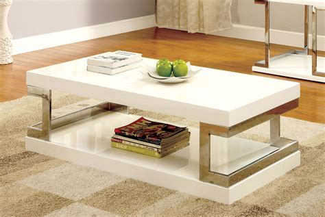 Chrome And White Designer Coffee Table Image
