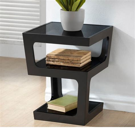 Clara Modern Tall Black 3 tiered End Table Image