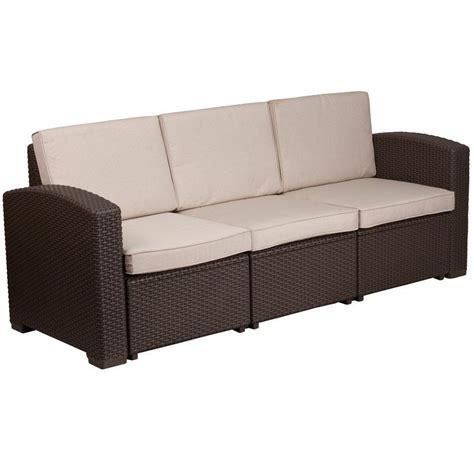 Clifford Faux Rattan Sofa with Cushions