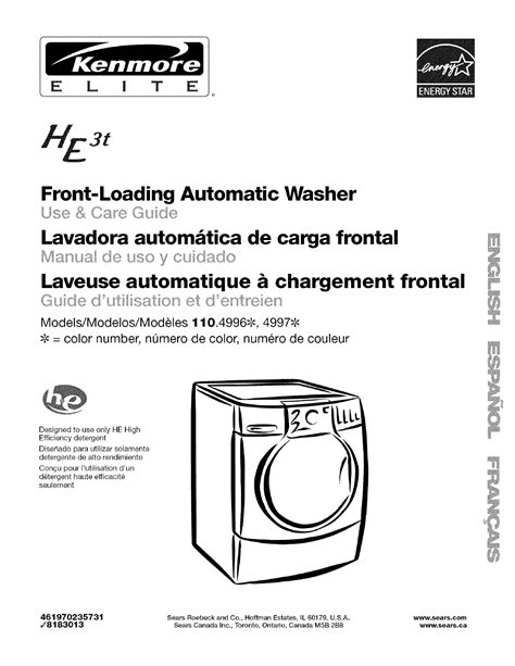 codes for kenmore elite washer pdf manual