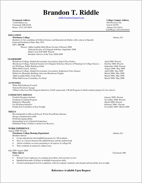 College Student Resume Format Download Resume Format For