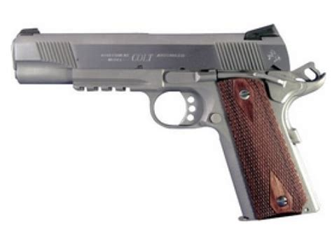 Colt 1911 Government With Rail Single 9mm 5in 9rd Rosewood