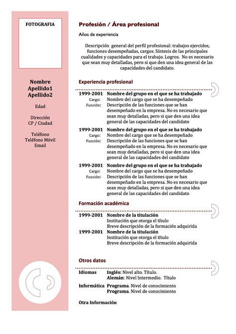 Formato De Curriculum Vitae Sin Experiencia Laboral Pdf