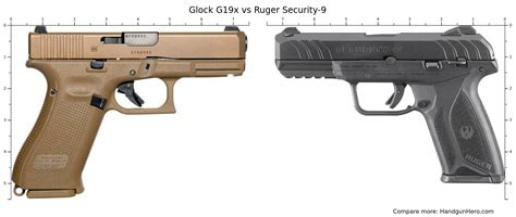 Compare Ruger Security 9 Glock 19 Size