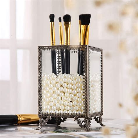 Condon Glass and Pearls Brush Holder Cosmetic Organizer.